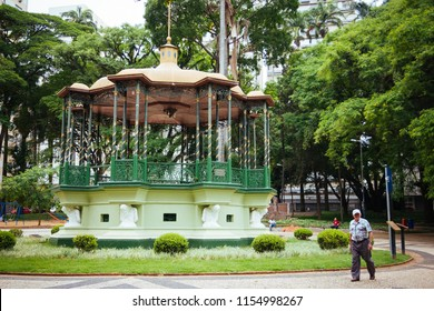 Campinas, SP, Brazil - November 24, 2013: Bandstand of Carlos Gomes Square in Campinas. Tourist spot located in the heart of the city. The name is a tribute to the great Brazilian composer.