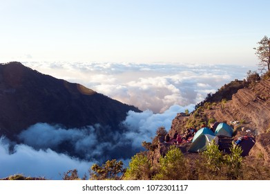 Camping above the clouds on Mount Rinjani, Lombok (Indonesia)