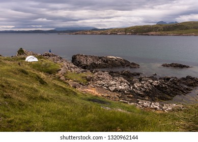 Camping in Achnahaird Bay on the Coigach Peninsula, Wester Ross, Highlands, Scotland, United Kingdom