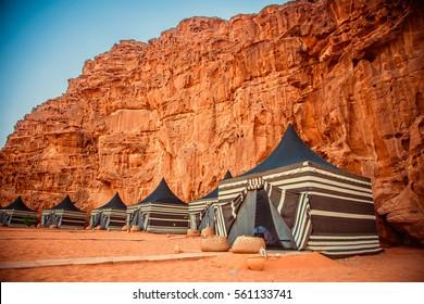Camping along the rocks in Petra, Wadi Rum. Jordan