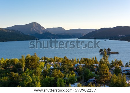 Camping Serre Poncon : Camping alps destination french alps lake stock photo edit now