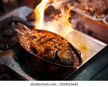 Camping barbecue, grilled fish, barbecue grill