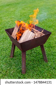 Camping BBQ firepit with logs, ash and smoke on green garden lawn