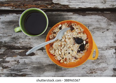 Camping breakfast of oatmeal and coffee.