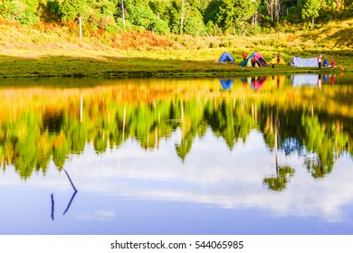Camping by the Shore of Chialo Lake (Also Named: Scattering Pearls from Fairyland) with Beautiful Blue Sky Reflection , Yilan, Taiwan