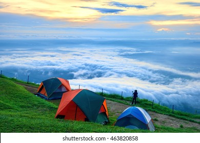 Camping at the climbing Phu Thap boek from the country of Thailand. Camping on the holiday. Camping on the grass. Camping on the mountain fog beautiful sea view.Beautiful wonders of nature.