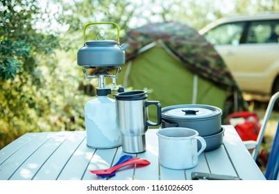 Camping cookware set outdoors
