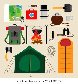 Camping equipment icons. Facilities for tourism, recreation, survival in the wild