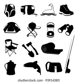 Camping and Fishing Icons Set
