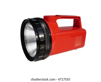 Camping flashlight isolated with clipping path.