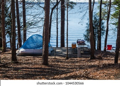 Camping in the forest of Dreher State Park on Lake Murray in South Carolina