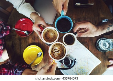 Camping Friendship Friends Map Coffee Concept