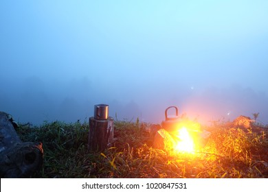 camping gas stove and small pot.Camping concept.selective focus.