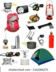 Camping gear collage isolated on white background.