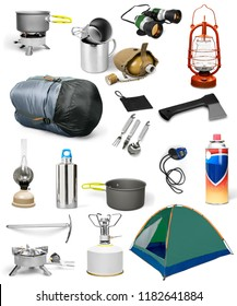 Camping gear collage on white background