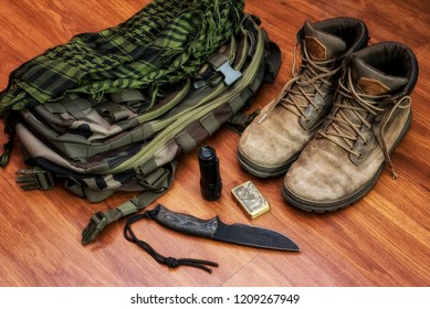 Camping gear, edc, boots, backpack, knife,  flashlight, lighter, shemagh