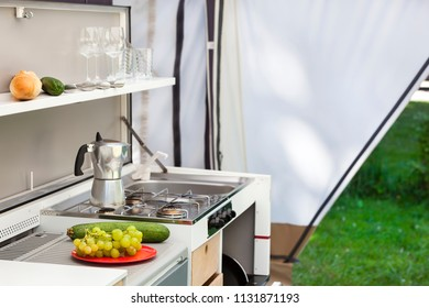 Camping or glamping with a kitchen in a tent
