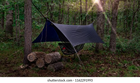 Camping Hammock with Raincover at Sunrise