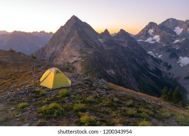 Camping in high country in the North Cascade mountains at sunrise - Washington