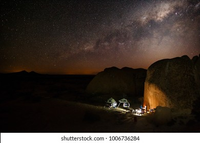 Camping at the most amazing camp at Spitzkoppe with breathtaking night sky