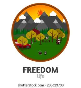 Camping mountain background, with stuff and car, flat design.