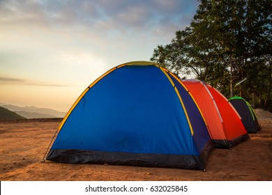 Camping nature mountain background.