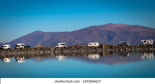 Camping near Lake Pukaki and fishing salmon, Twizel , New Zealand