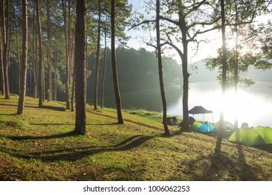 Camping near lake with Sunrise at Pang-ung, Mae Hong Son, North of Thailand.