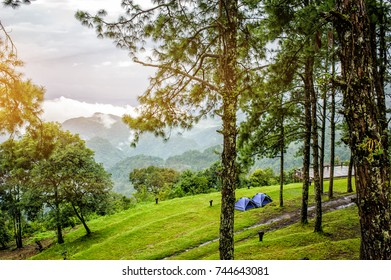 Camping near the scenic spot with Sunrise at Mon sone view point of Doi Pha Hom Pok National Park ,tourist attraction at Chiangmai province in thailand