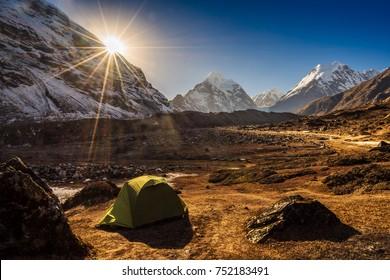Camping in Nepal, Himalaya mountains