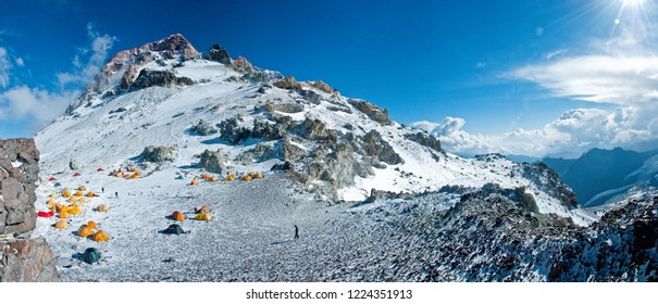 Camping on Aconcagua Mountain, Horcones Valley, Aconcagua Provincial Park, Central Andes, Mendoza Province, Argentina.