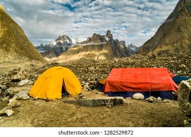 Camping on Baltoro Glacier in Karakoram Mountain Range, Pakistan, en route to K2 base camp.