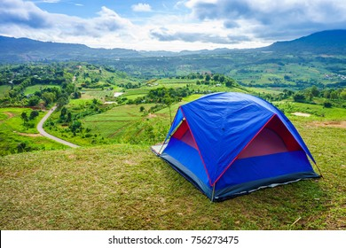 Camping on the hill at Khao Ta-Khian Ngo Viewpoint. The location in Khao Kho District, Phetchabun, Thailand, Southeast Asia.