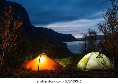 Camping on the Kungsleden Hiking Trail in Sweden-Lapland at night
