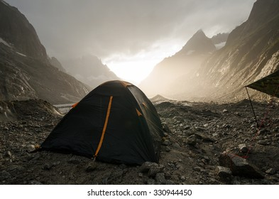 Camping on Leschaux glacier in the french Alps