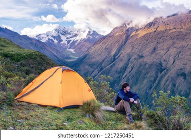 Camping in the Peruvian Andes. traveler in mountains, Salkantay Trekking, Peru, South America
