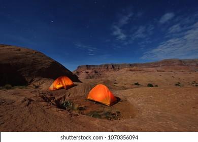 Camping at Reflection Canyon, Lake Powell,  Utha, USA