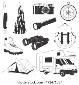 Camping set with things to travel with isolated illustration, items collection for camping, hiking and recreation activity, things for tourism, tourist tent, compass, equipment