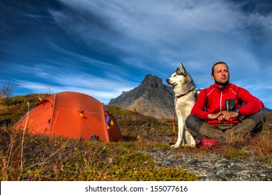 Camping with Siberian Husky in Lapland
