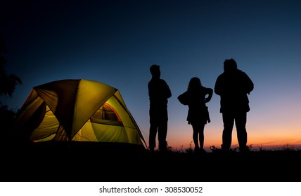 camping and sunset.