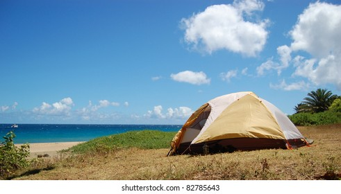 Camping Tent at Kalalau Beach Kauai Hawaii