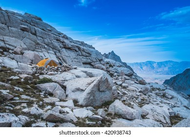 A camping tent in the mountains