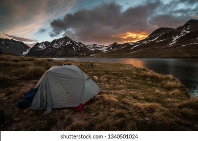 Camping with tent in Nelson lakes National park, South Island of New Zealand