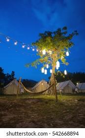 Camping tent night scene view