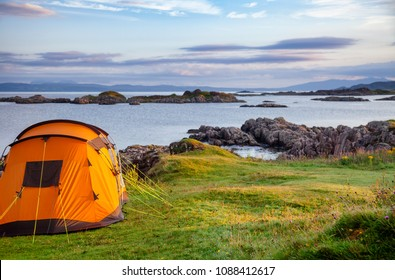 Camping tent on scenic west coast of the Highlands of Scotland, UK