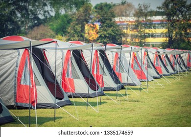 camping tent in a row