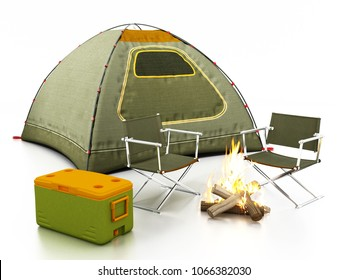 Camping tent, seats, fire and cooler isolated on white background. 3D illustration.