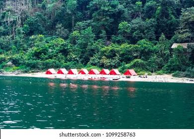 Camping Tent at  Shnongpdeng, Tourist Destination, Meghalaya, Khasi Hills, India