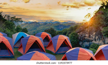 Camping and tent  in sunset at north of Thailand