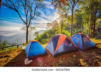 Camping tent in the top of mountain in the morning